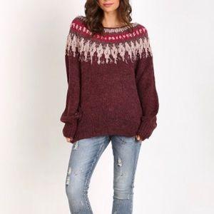 Free People Baltic Fairisle Knit Sweater Size XS